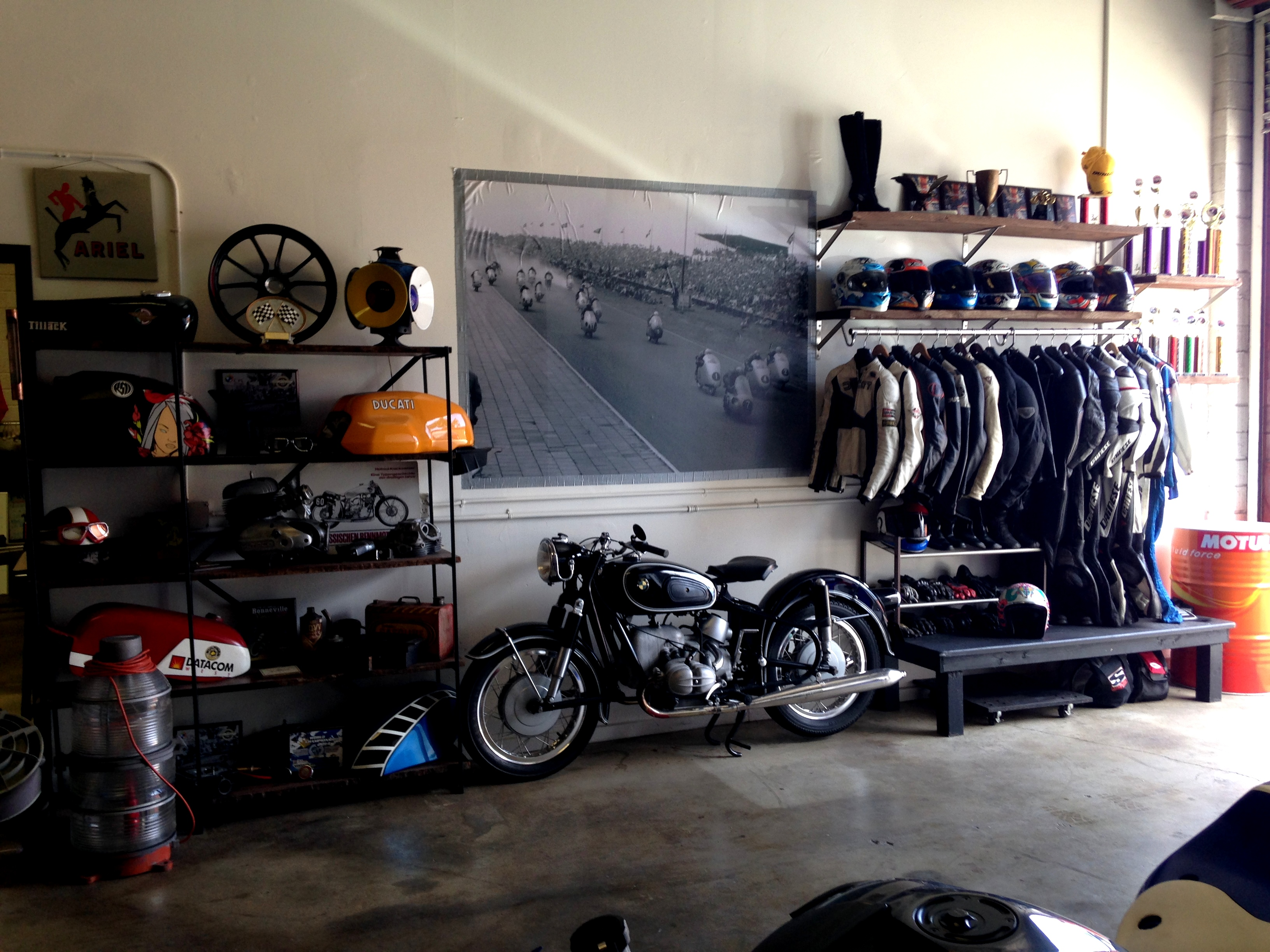vintage motorcycle garage rental helmets n 39 heels. Black Bedroom Furniture Sets. Home Design Ideas